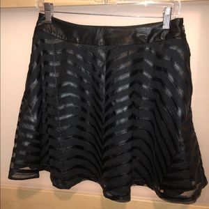 Guess black leather high waist skater skirt